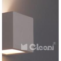 1038A KUBIK ścienny z dolnym szkłem E27 kinkiet biały CLEONI